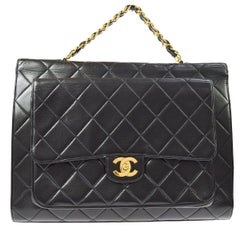 Chanel Rare Double Sided Carryall Business Top Handle Travel Brief Briefcase Bag