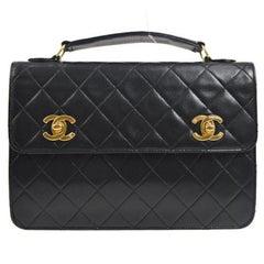 Chanel Black Lambskin Dual Turnlock Top Handle Satchel Shoulder Flap Bag
