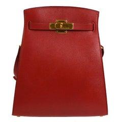 Hermes Red Leather Gold Hardware Travel Sport Single Shoulder Carryall Bag