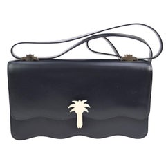 Hermes Rare Midnight Leather Silver Charm PALM Evening Shoulder Flap Bag