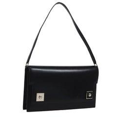 Hermes Black Leather Evening Silver Stud Top Handle Satchel Kelly Style Bag