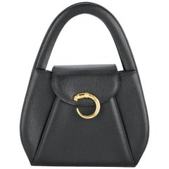 Cartier Black Leather Gold Emblem Top Handle Kelly Style Satchel Evening Bag