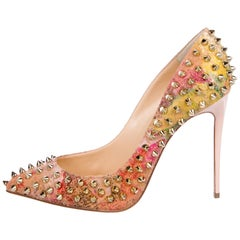 Christian Louboutin NEW Multi Color Suede Gold Stud Evening Heels Pumps in Box