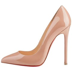 Christian Louboutin NEW Pigalle 120 Tan Nude Patent Leather Pumps Heels in Box