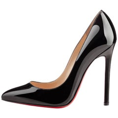 Christian Louboutin NEW Pigalle 120 Black Patent Leather High Heels Pumps in Box