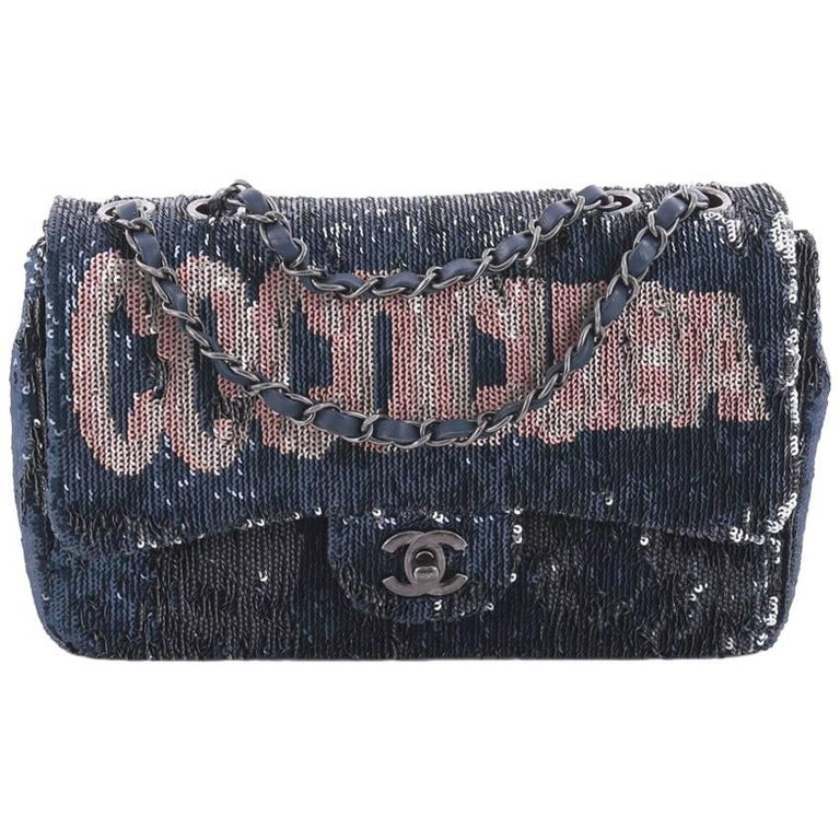 Chanel Limited Edition Blue Sequin Leather Single Double Shoulder Flap Bag For Sale