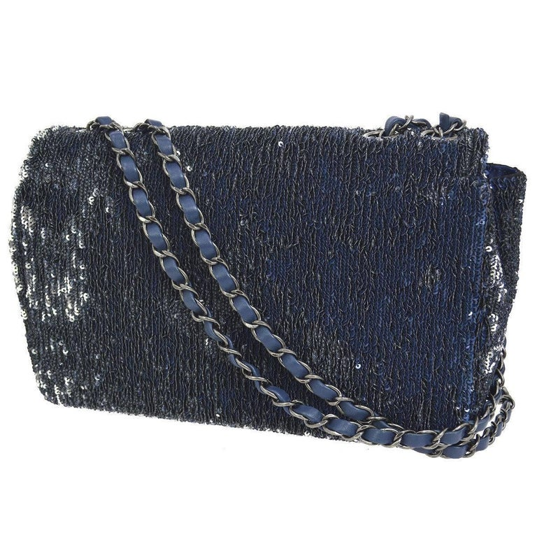 Black Chanel Limited Edition Blue Sequin Leather Single Double Shoulder Flap Bag For Sale