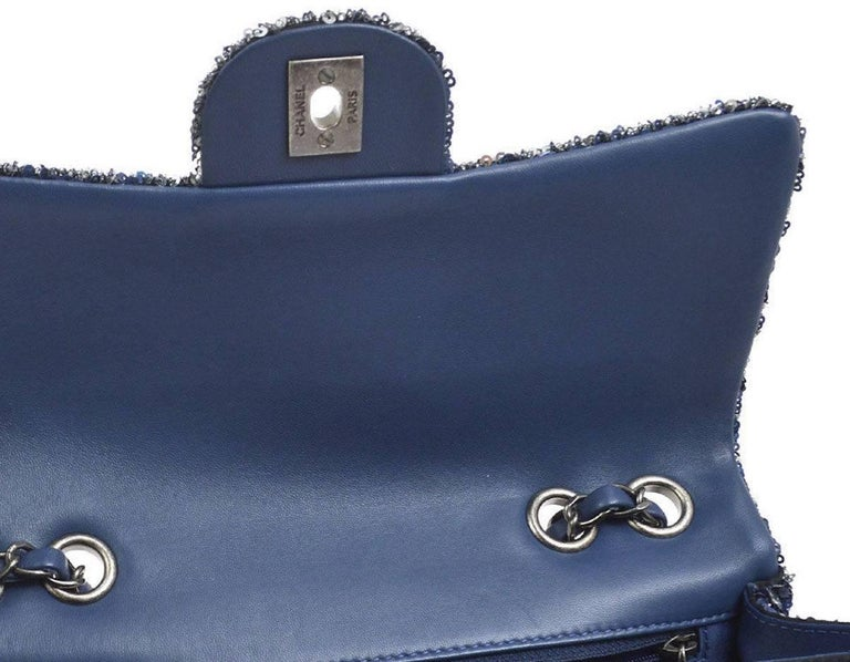 Chanel Limited Edition Blue Sequin Leather Single Double Shoulder Flap Bag In Excellent Condition For Sale In Chicago, IL