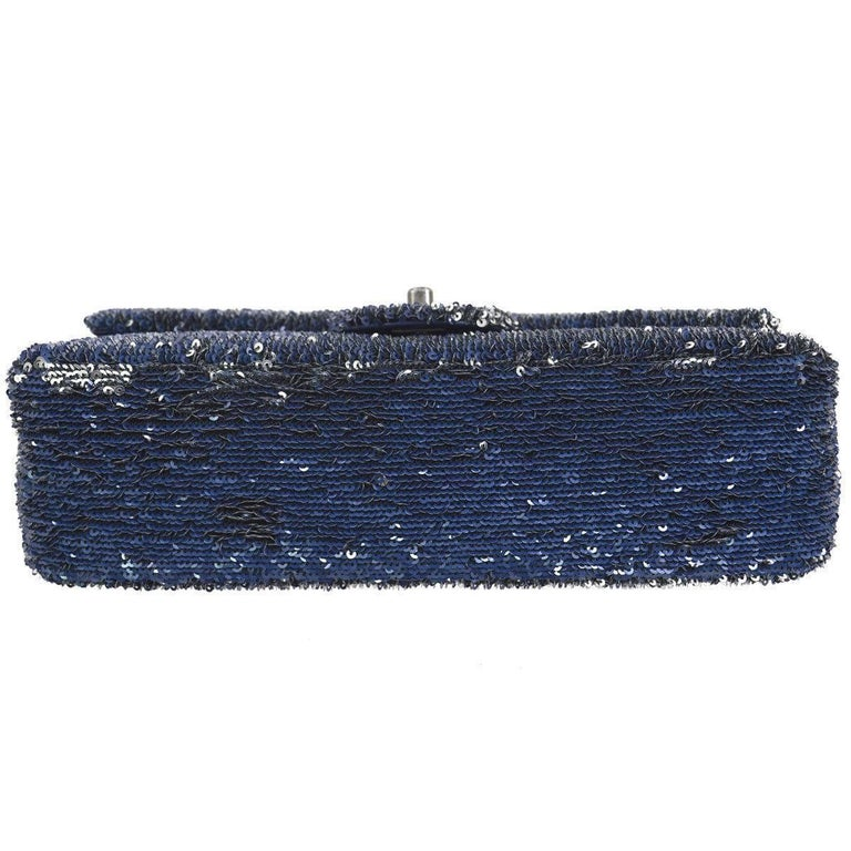 Women's Chanel Limited Edition Blue Sequin Leather Single Double Shoulder Flap Bag For Sale