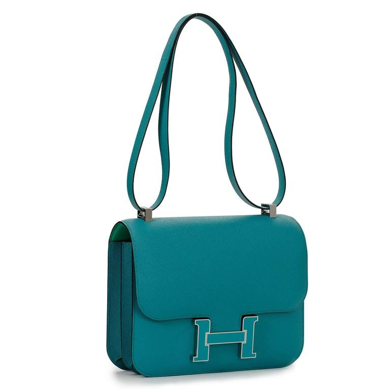 Limited Edition Hermes Constance 24 Verso Blue Paon Epsom H Enamel For Sale At 1stdibs