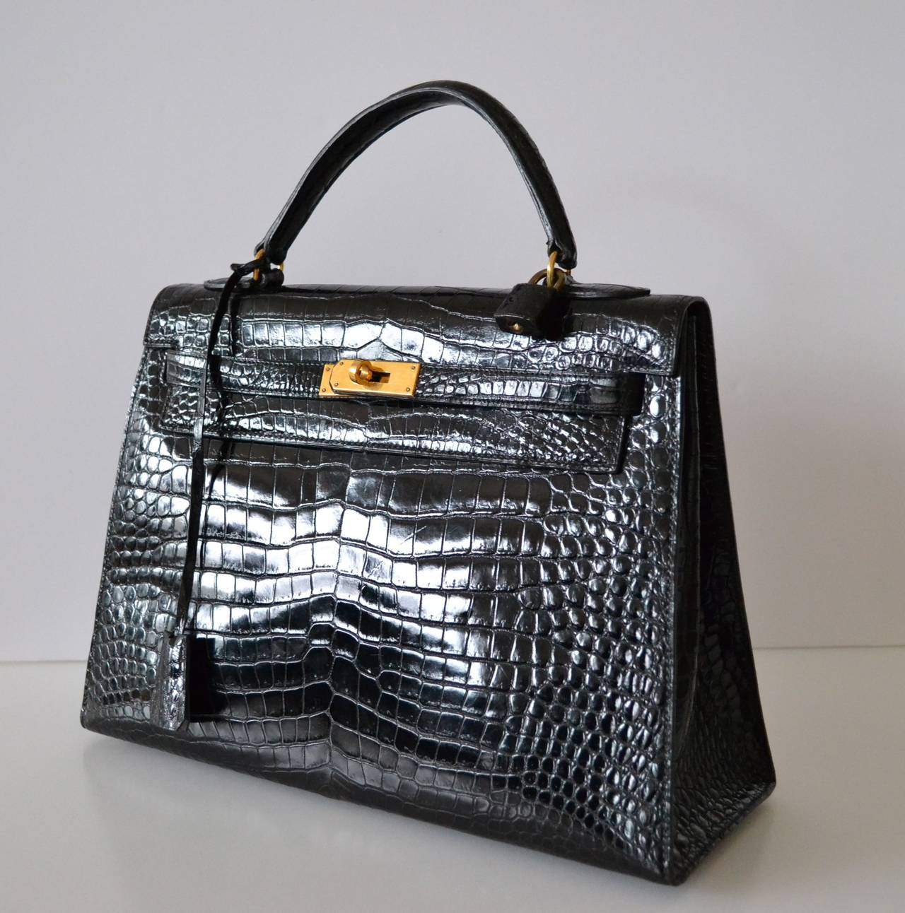 Hermes Kelly 32 Black crocodile Porosus at 1stdibs