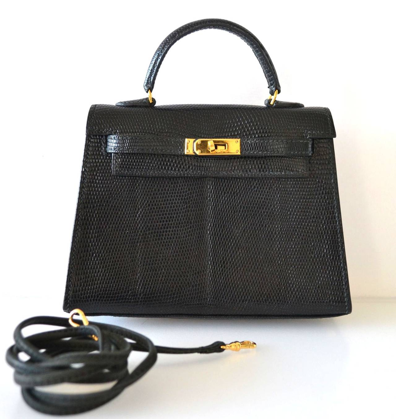 best fake birkin bag - Exceptional Hermes Kelly 15 Lizard Black at 1stdibs