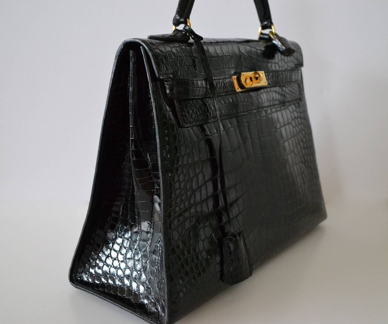 birkin handbag price - Hermes Kelly 32 Black crocodile Porosus at 1stdibs
