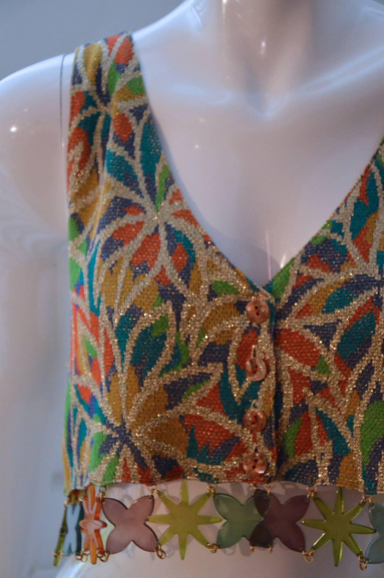 Missoni 1980s Multicolor Lurex and Plastic Vest Gilet 2