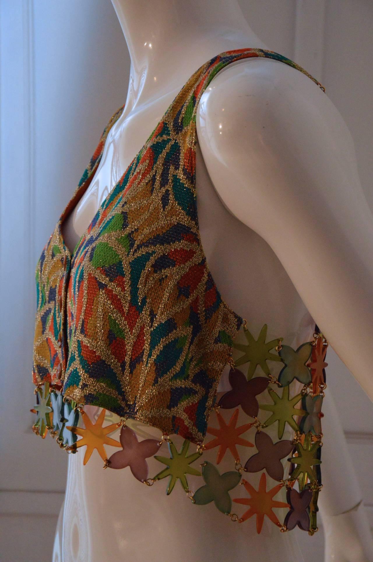 Missoni 1980s Multicolor Lurex and Plastic Vest Gilet 3
