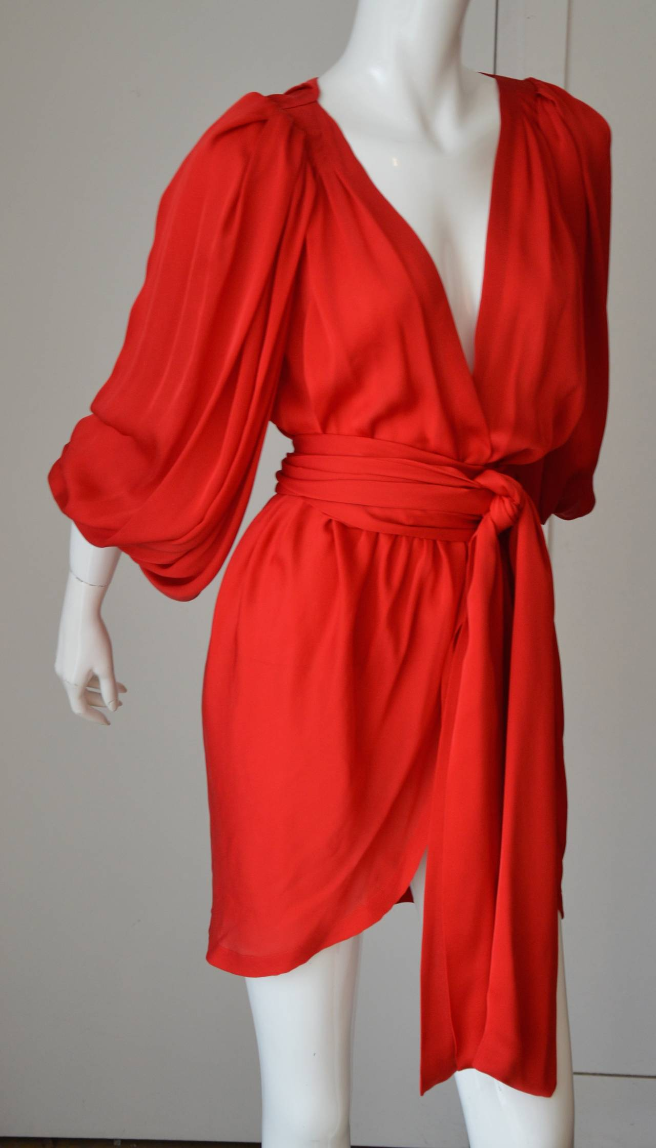 Iconic Yves Saint Laurent Silk Wrap Cocktail Dress 2