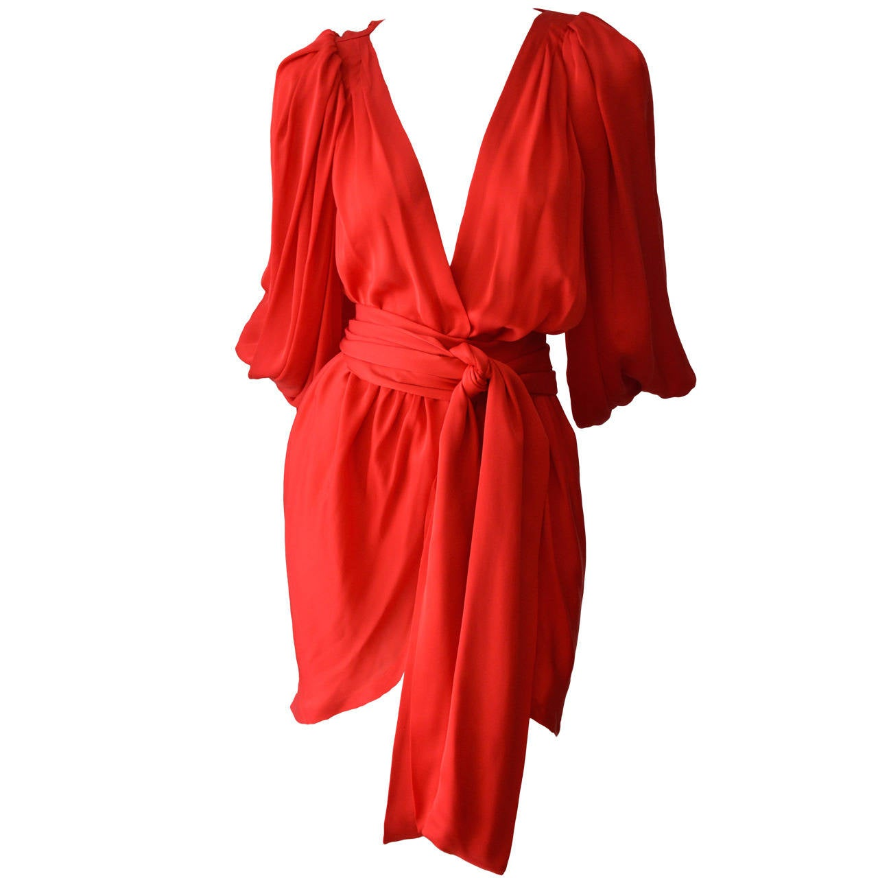 Iconic Yves Saint Laurent Silk Wrap Cocktail Dress At 1stdibs