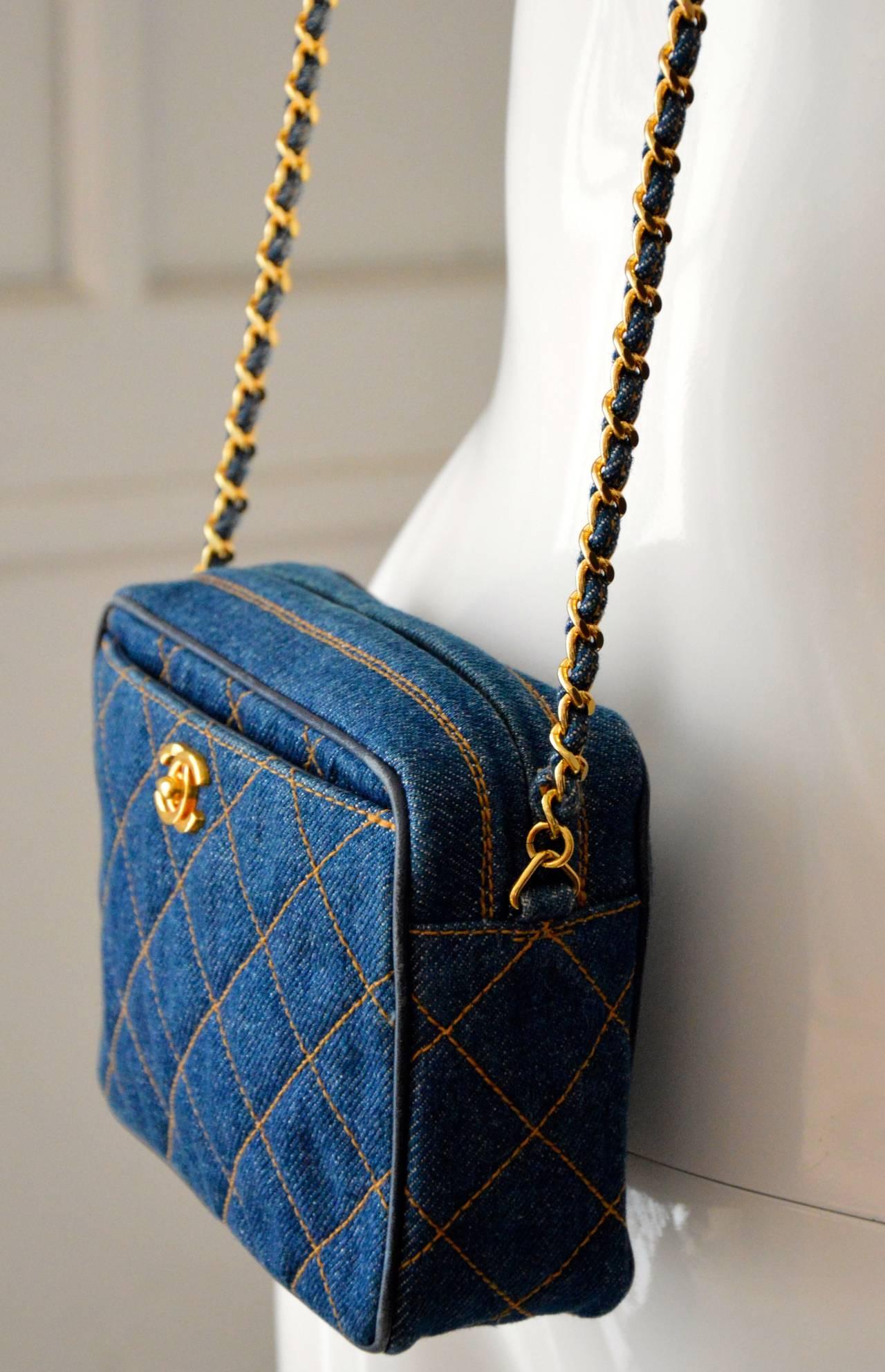 1990s Chanel Very Rare Vintage Shoulder Bag In Blue