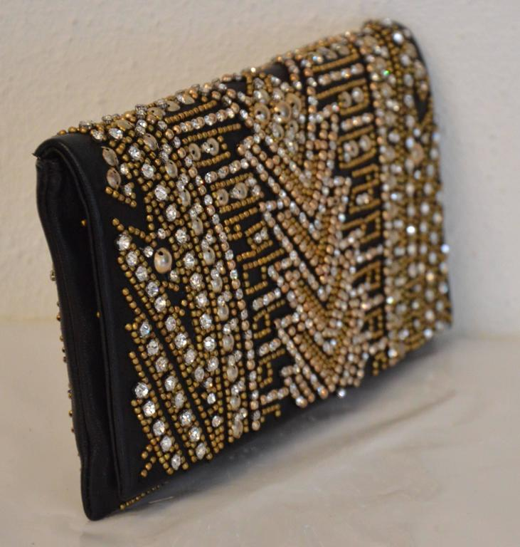 Rare Olivier Rousteing for Balmain Black Embroidered Leather Clutch 2