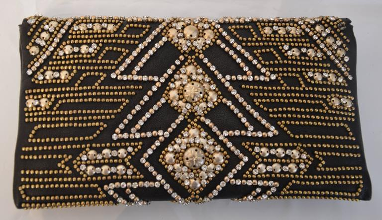 Rare Olivier Rousteing for Balmain Black Embroidered Leather Clutch 3