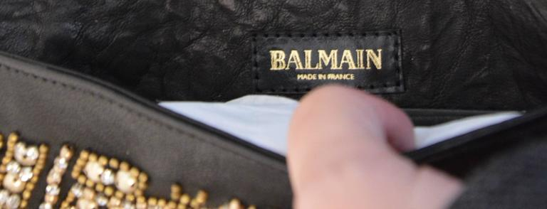 Rare Olivier Rousteing for Balmain Black Embroidered Leather Clutch 5