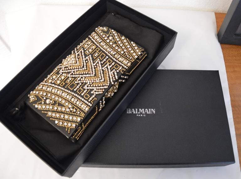 Rare Olivier Rousteing for Balmain Black Embroidered Leather Clutch 6