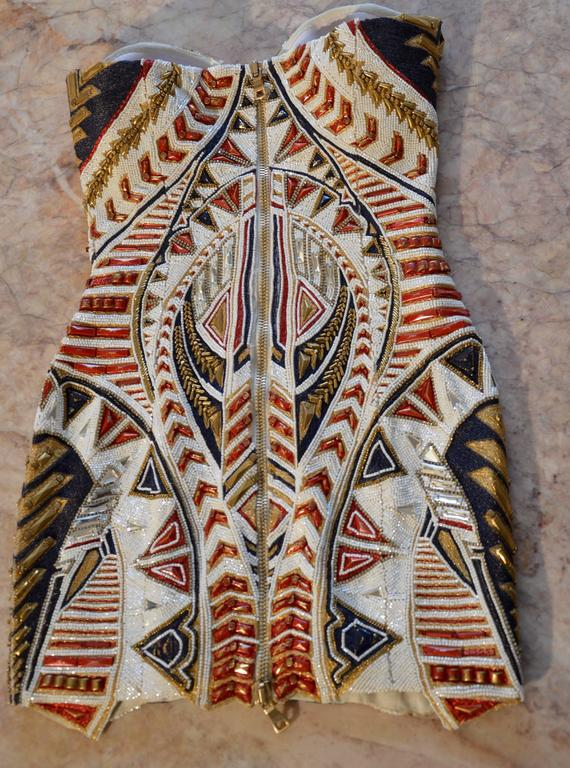 Unique Balmain Olivier Rousteing Body-Molding Mexican-style Embroidered Dress 3