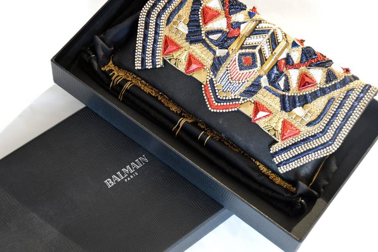Unique Balmain Olivier Rousteing Mexican-style Embroidered Lambskin Handbag 3