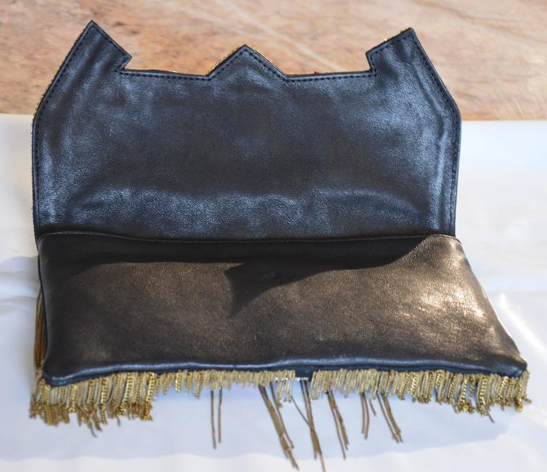 Unique Balmain Olivier Rousteing Mexican-style Embroidered Lambskin Handbag 4