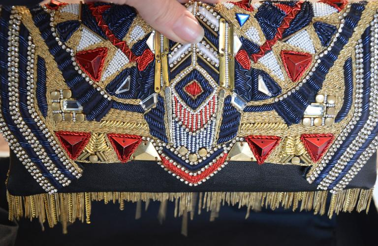 Unique Balmain Olivier Rousteing Mexican-style Embroidered Lambskin Handbag 5