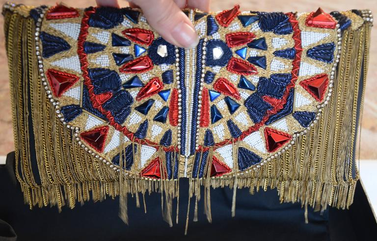 Unique Balmain Olivier Rousteing Mexican-style Embroidered Lambskin Handbag 6