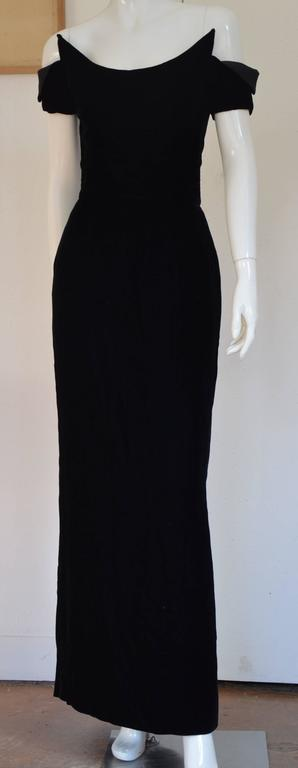 1990s Lanvin by Claude Montana Superb Deep Black Silk Velvet Gown 2
