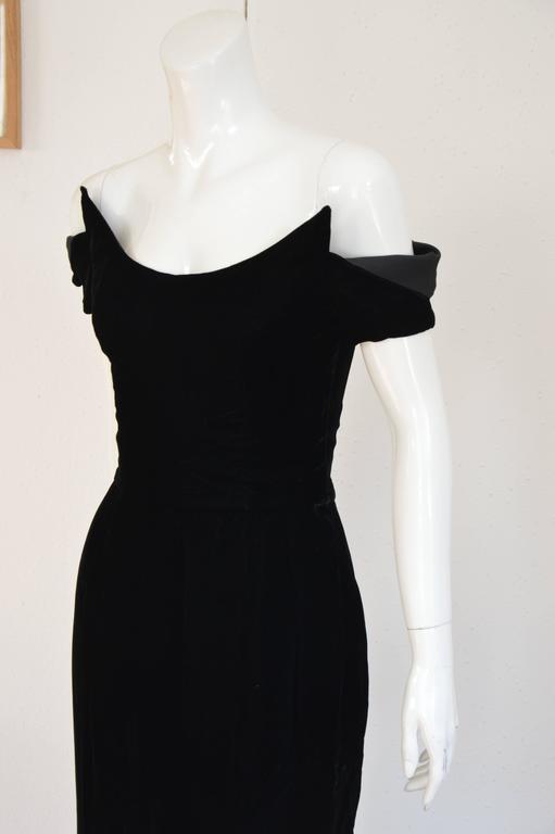 1990s Lanvin by Claude Montana Superb Deep Black Silk Velvet Gown 3