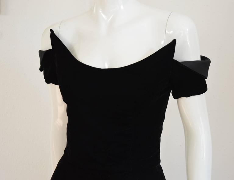 1990s Lanvin by Claude Montana Superb Deep Black Silk Velvet Gown 4