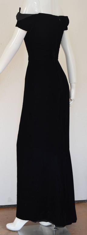 1990s Lanvin by Claude Montana Superb Deep Black Silk Velvet Gown 7