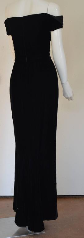 1990s Lanvin by Claude Montana Superb Deep Black Silk Velvet Gown 8