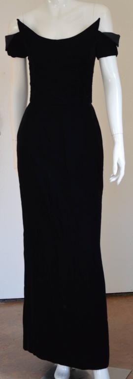 1990s Lanvin by Claude Montana Superb Deep Black Silk Velvet Gown 9