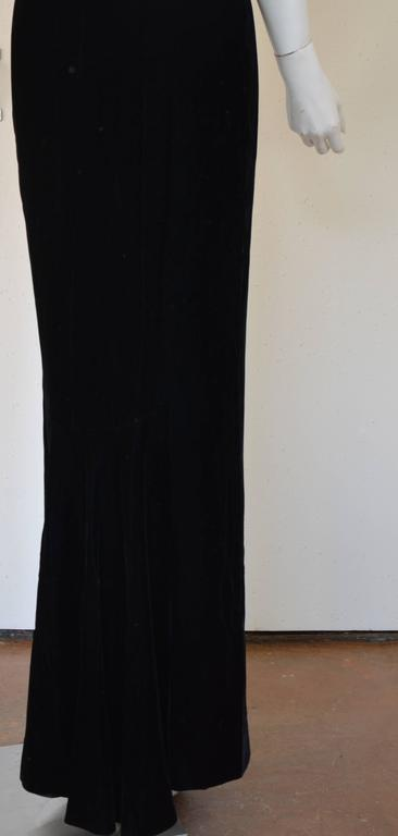1990s Lanvin by Claude Montana Superb Deep Black Silk Velvet Gown 10