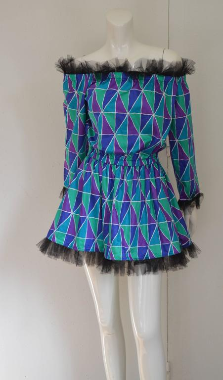 "Rare 1990s Yves Saint Laurent ""Arlequin"" Mini Dress 2"