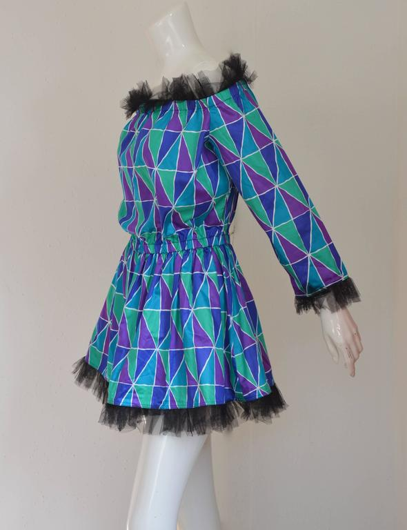 "Rare 1990s Yves Saint Laurent ""Arlequin"" Mini Dress 3"