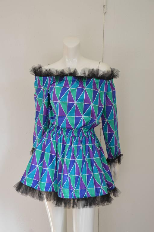 "Rare 1990s Yves Saint Laurent ""Arlequin"" Mini Dress 4"