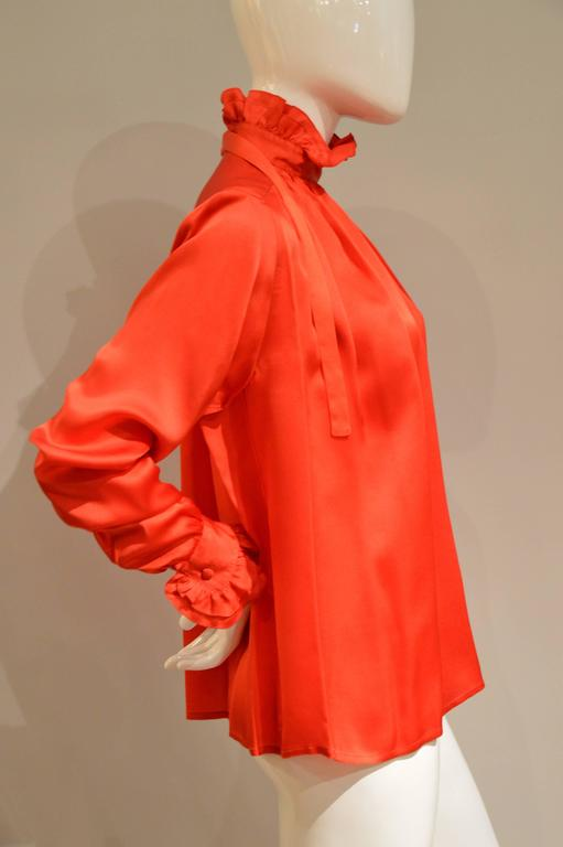 Gorgeous 1990s Chanel Vivid Red Silk Blouse 2