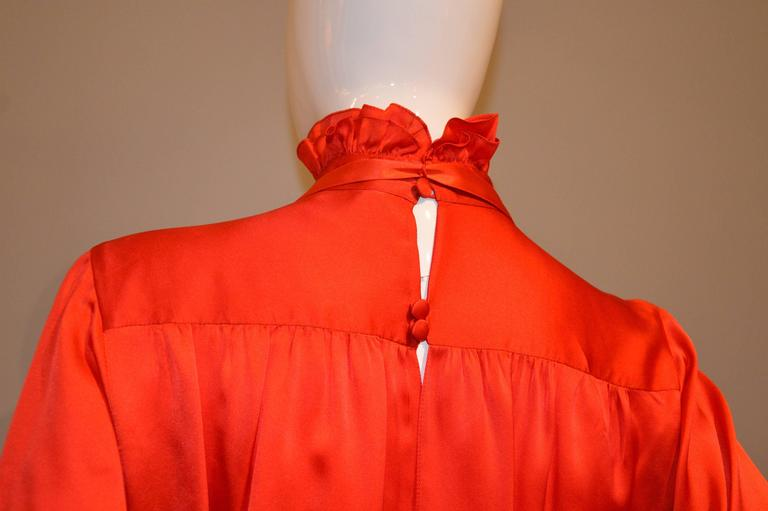 Gorgeous 1990s Chanel Vivid Red Silk Blouse 3