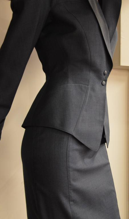 Iconic 1980s Thierry Mugler Night Blue 2 Pieces Suit 2