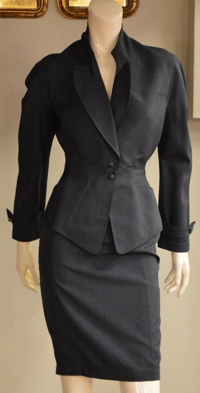 Iconic 1980s Thierry Mugler Night Blue 2 Pieces Suit 4