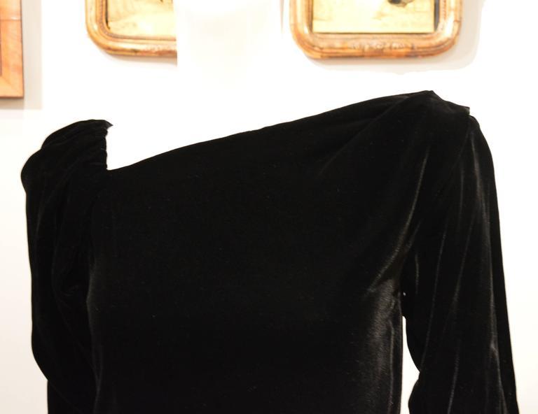 Rare 1990s Yves Saint Laurent Rive Gauche Edgy Black Velvet Waist Dress 2