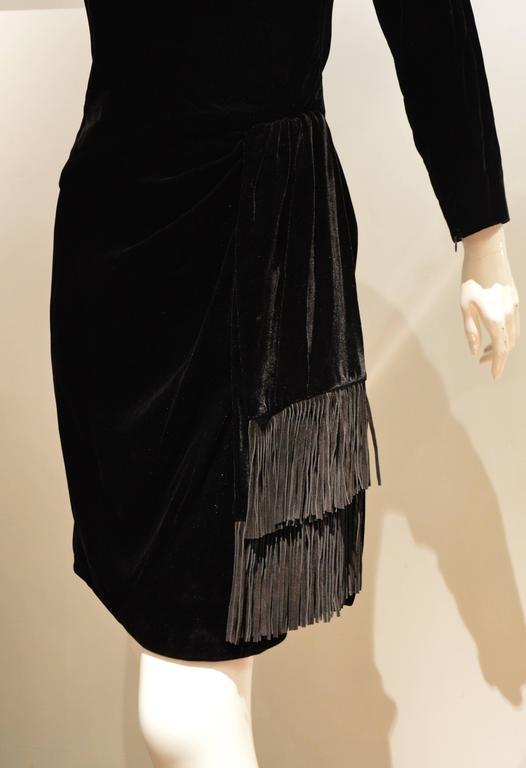 Rare 1990s Yves Saint Laurent Rive Gauche Edgy Black Velvet Waist Dress 3