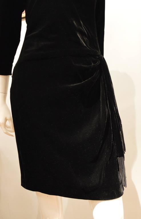Rare 1990s Yves Saint Laurent Rive Gauche Edgy Black Velvet Waist Dress 4