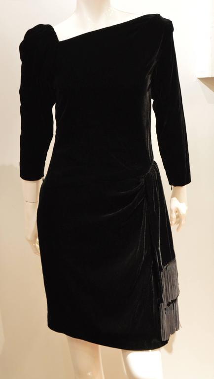Rare 1990s Yves Saint Laurent Rive Gauche Edgy Black Velvet Waist Dress 5