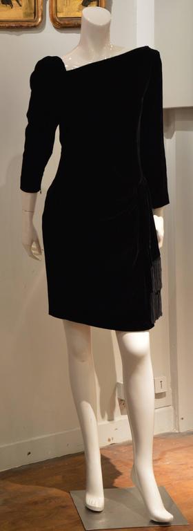 Rare 1990s Yves Saint Laurent Rive Gauche Edgy Black Velvet Waist Dress 6